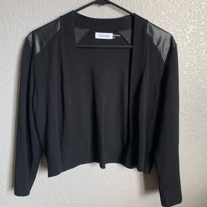 Calvin Klein Black Cardigan Faux Leather Size XL